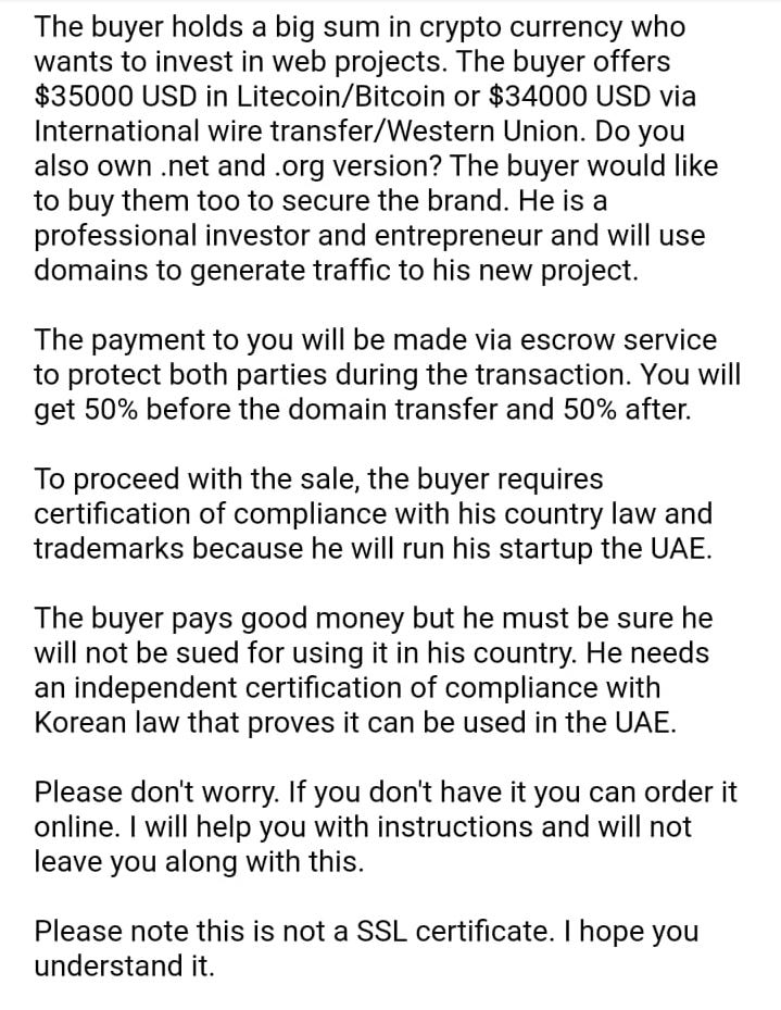 Domain Purchase Scam